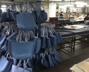 Leather bags in a handbag factory