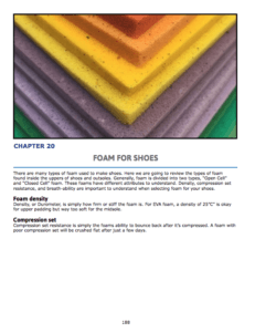 Chapter 19 : Foam for Shoes Foam types, open vs closed Foam compounds, densities and use in shoes