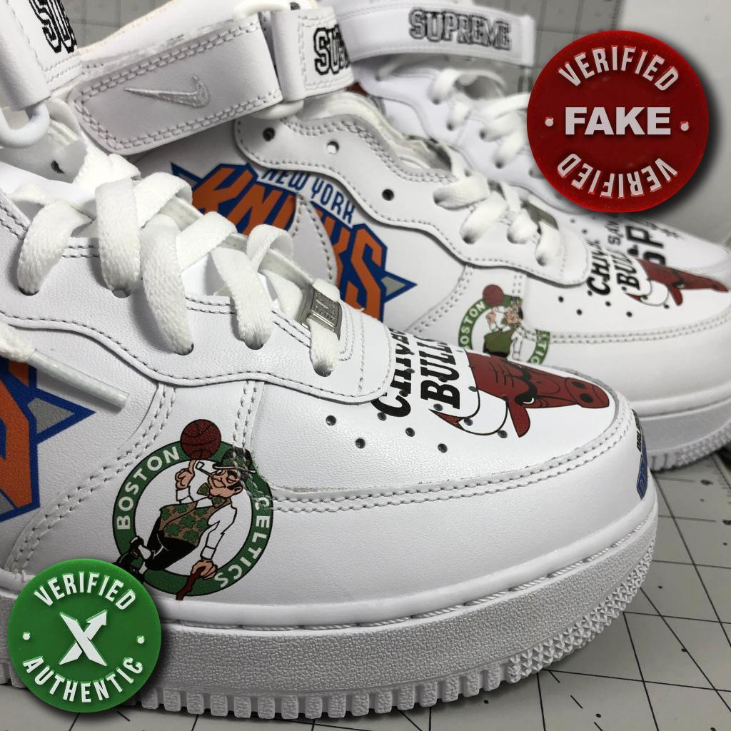 Nike Supreme Air Force 1 Mid : Real vs. Fake How Shoes