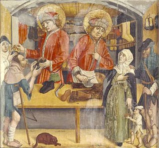 Saints Crispin and Crispinian are the Christian patron saints of cobblers, curriers, tanners, and leather workers. They were beheaded during the reign of Diocletian; the date of their execution is given as 25 October 285