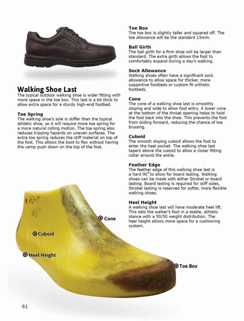 Walking shoe last design