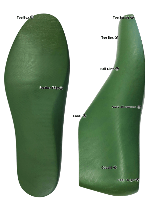 The running shoe last is designed to create a lightweight, close-fitting, flexible shoe with enough heel lift for impact-absorbing cushioning. This last has a low medial sidewall that flares up to create extra toe space. This gives the shoe extra flexibility and helps hold the foot back into the shoe for a snug fit without pinching the runner's toes.